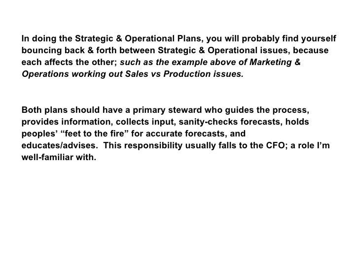 Strategic & Operational Business Planning - an Overview