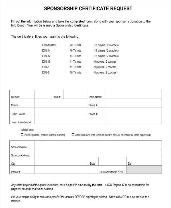 Template Sponsor Form Sponsorship Form Template Free Printable – Sponsorship Request Form