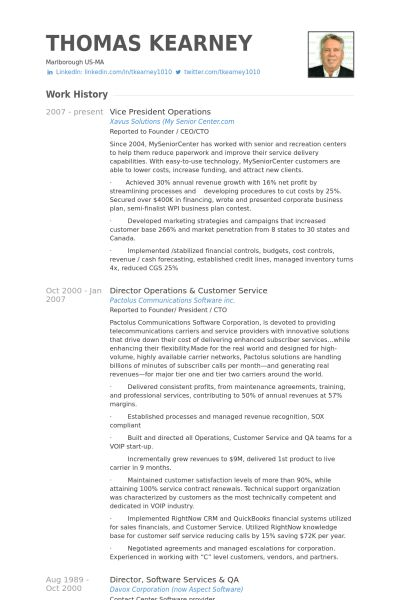 Vice President Operations Resume samples - VisualCV resume samples ...