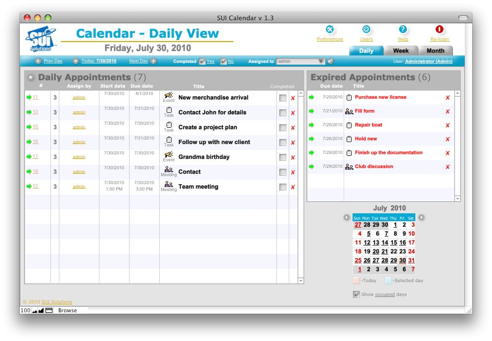 SUI Calendar - SUI Solutions. FileMaker Templates. Professional ...