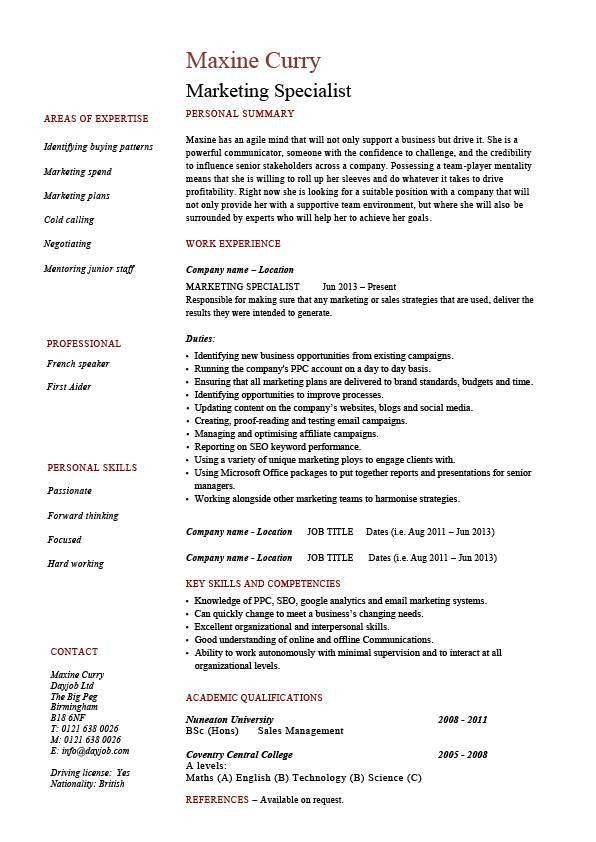 Marketing specialist resume, sales, academic qualifications ...
