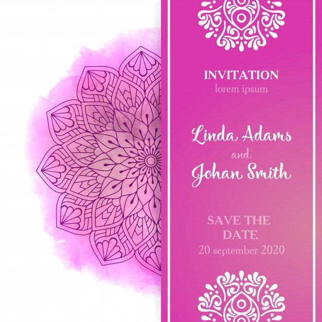 Pink wedding invitation template Vector | Free Download