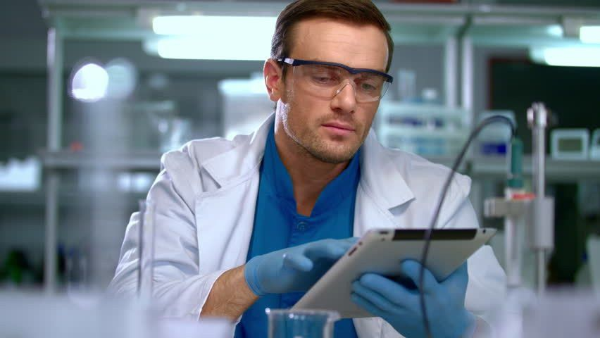 Portrait Of Scientist In Lab. Close Up Of Chemist In Chemical ...