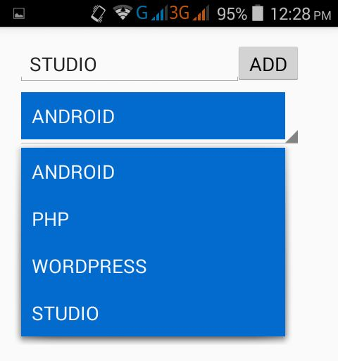 Add item to spinner dynamically in android using Edittext at app ...