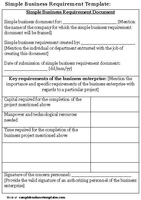 Simple Business Requirement Template | Sample Business Templates