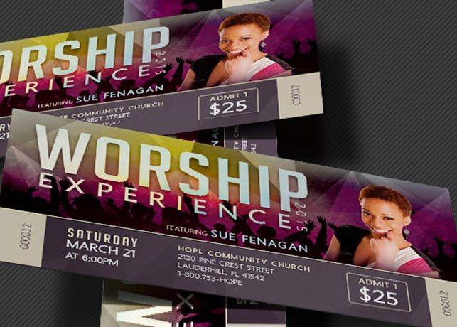 Worship Concert Ticket Template | Inspiks Market