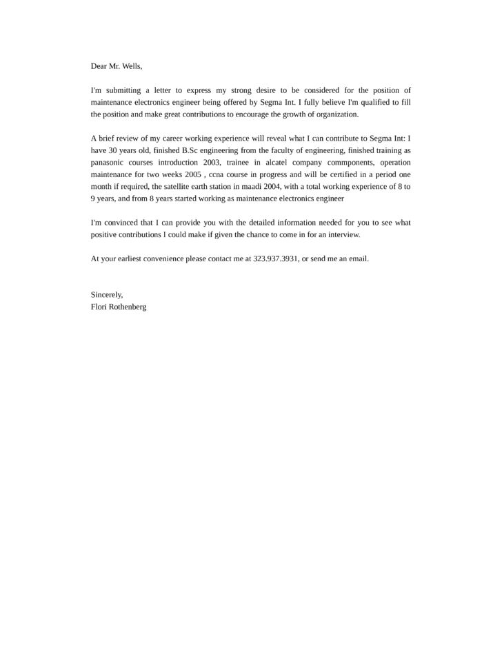 Maintenance Electronics Engineer Cover Letter Samples and Templates