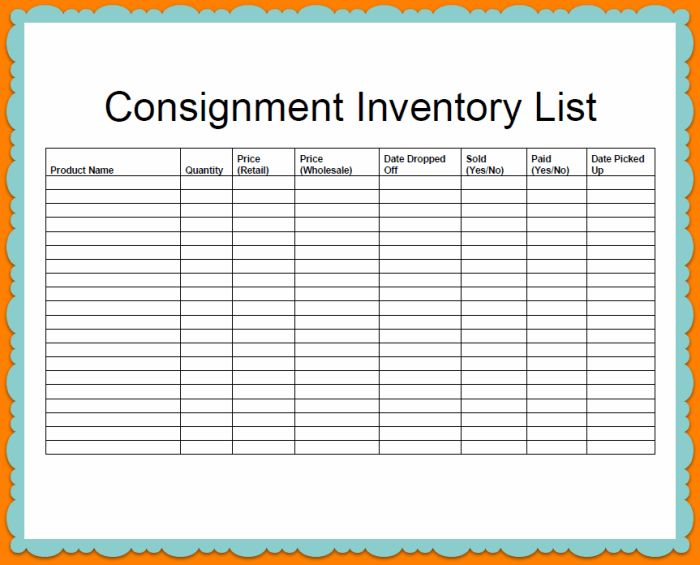 Company Consignment And Inventory Stock List Template Sample ...