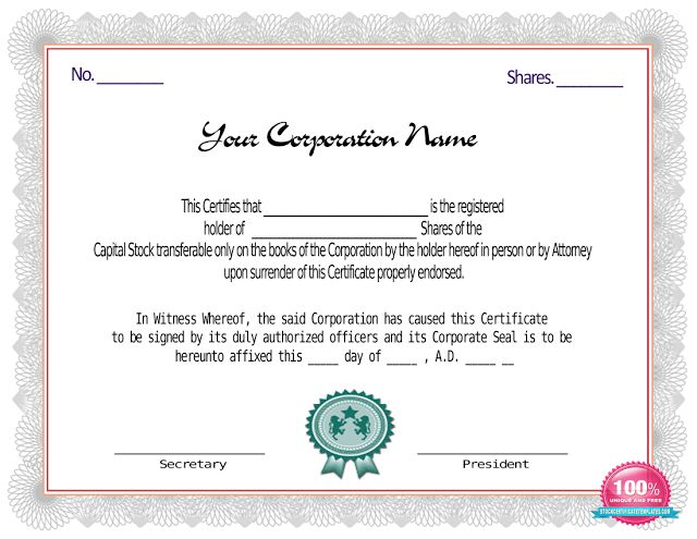 Red Stock Certificate Template | Certificate Templates