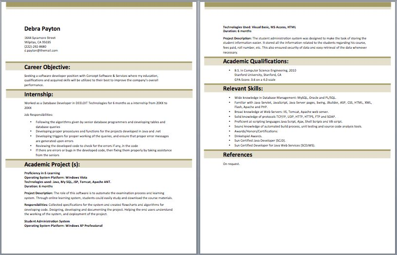 sample java resume resume cv cover letter entry level web ...