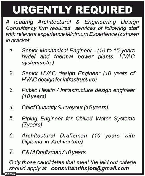 Job in Architectural Engineering Design Consultancy Firm Job, Sr ...