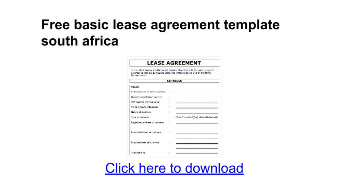 Free basic lease agreement template south africa - Google Docs