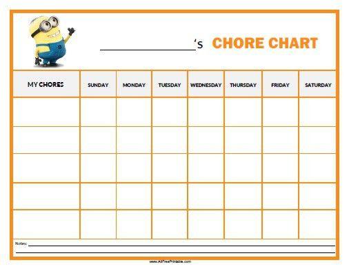 Printable Daily Chore Chart Template – Calendars 2017
