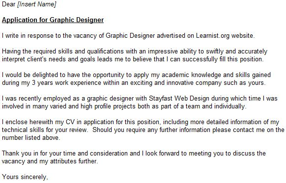 Graphic Designer Cover Letter Example - forums.learnist.org