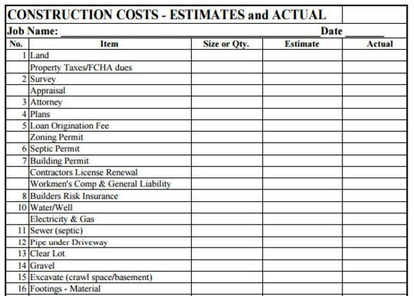 Download Sample Construction Estimate PDF Template for FREE ...