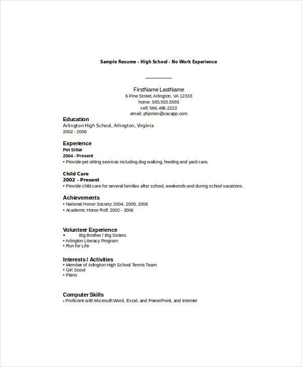 Resumes For High School Students With No Experience - Best Resume ...