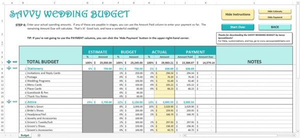 Savvy Spreadsheets - Wedding Budget Spreadsheets | The Budget ...