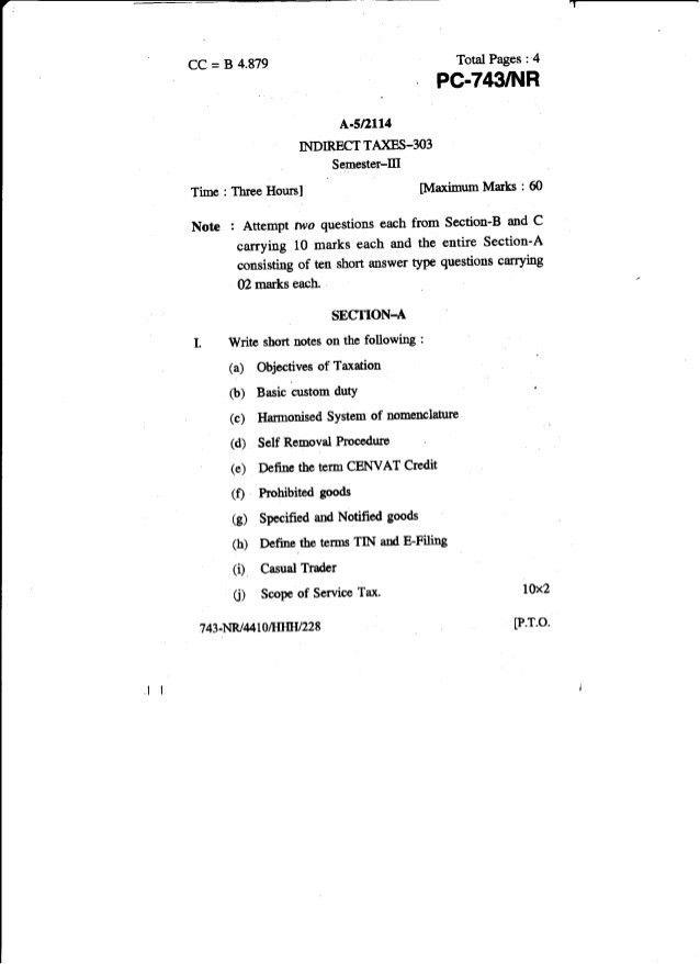 tax Question Paper 2014 Dec Punjabi Uni.