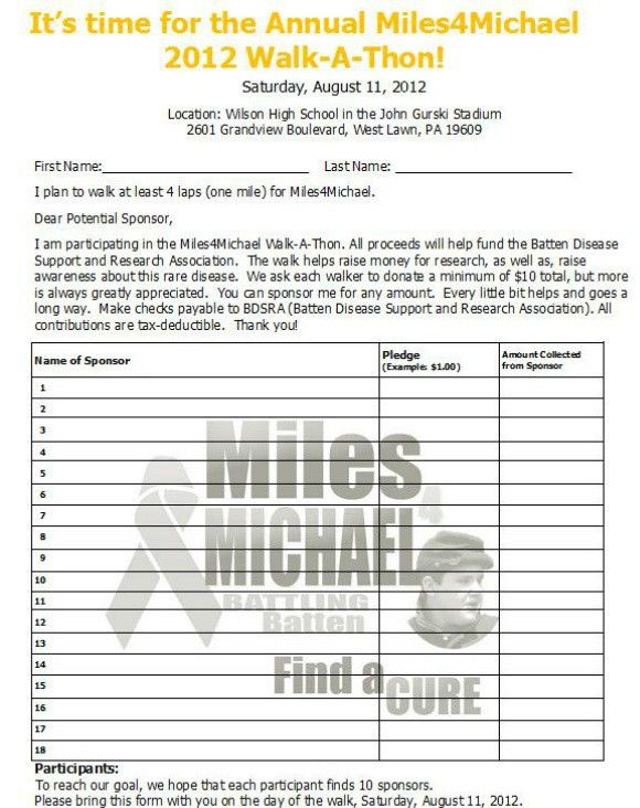 Sponsorship Form   Miles 4 Michael: Battling Batten  Printable Sponsor Forms