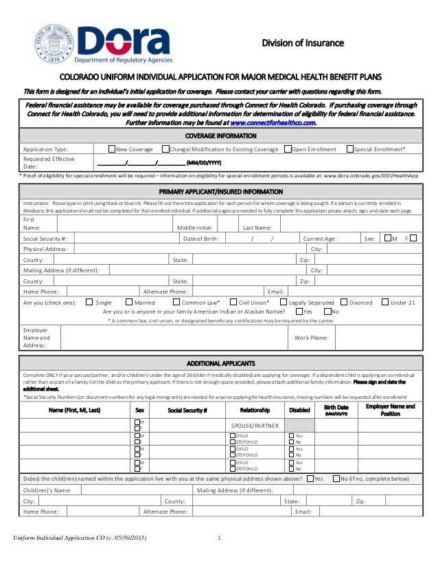 Colorado Uniform Individual Application for Major Medical Health Bene…