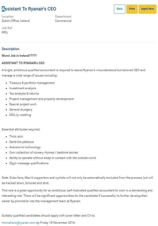 Ryanair posts advert for the 'worst job in Ireland'