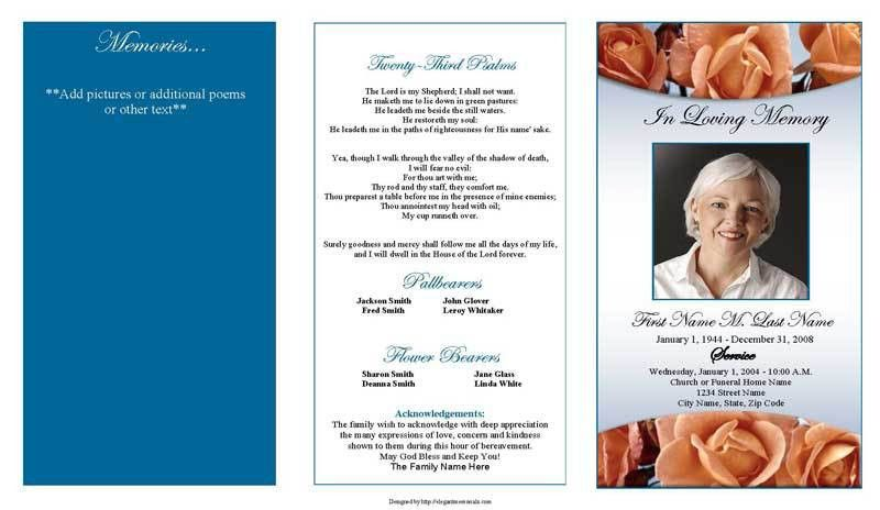 Trifold Blank Funeral Program Template with Blue and White Color ...