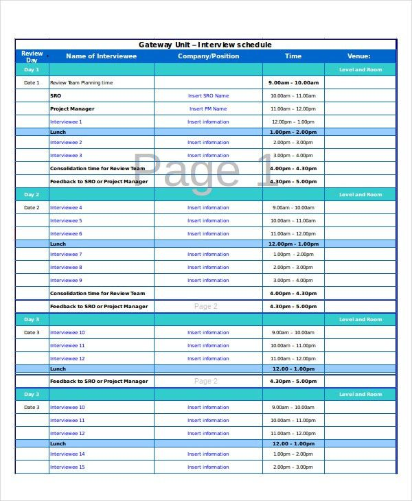 Excel Schedule Template - 11+ Free PDF, Word Download Document ...