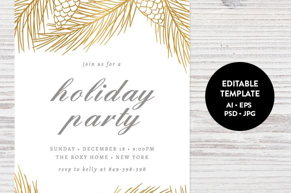 Modern Christmas Invitation Template Free ~ Yaseen for .