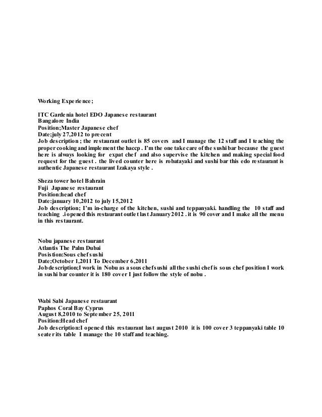 japanese chef resume - Copy