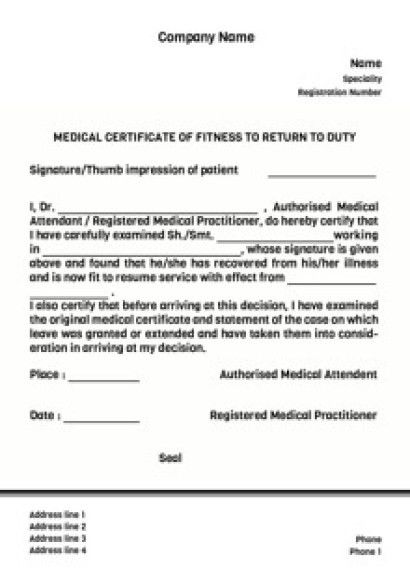 Medical Certificate For Sick Leave. Medical Certification For ...