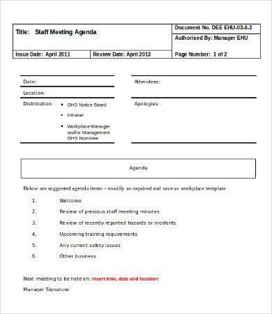 Meeting Agenda Template - 10+ Free Word Documents Download | Free ...