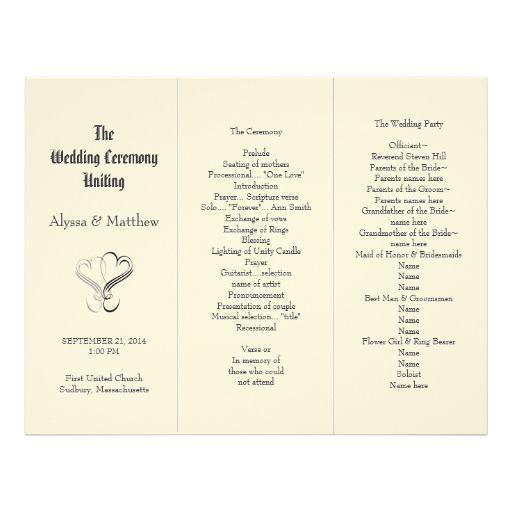42 best tri-fold wedding programs images on Pinterest | Tri fold ...