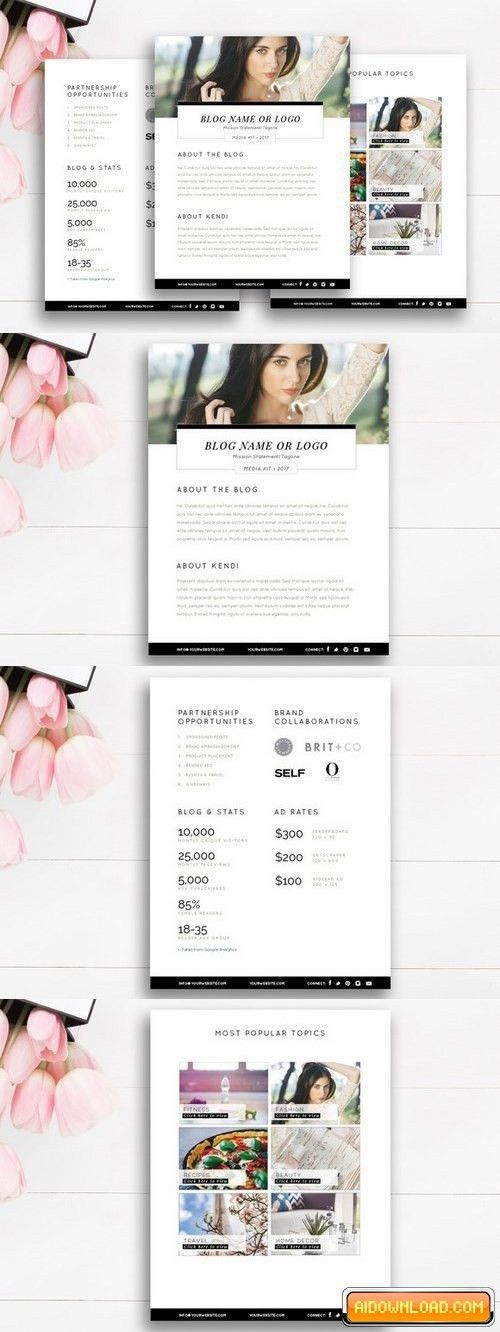 Blogger Media Kit Template | 3 Pages Free Download | Free Graphic ...