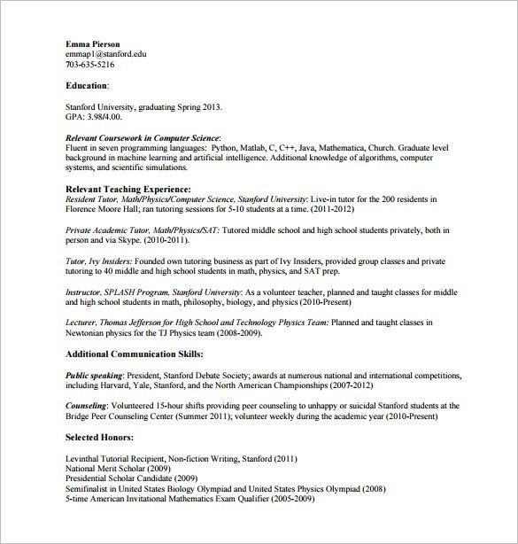 Tutor Resume Template – 11+ Free Word, Excel, PDF Format Download ...