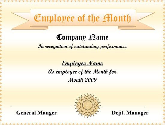 5+ Employee of the Month Certificate Templates – Word, PDF, PPT