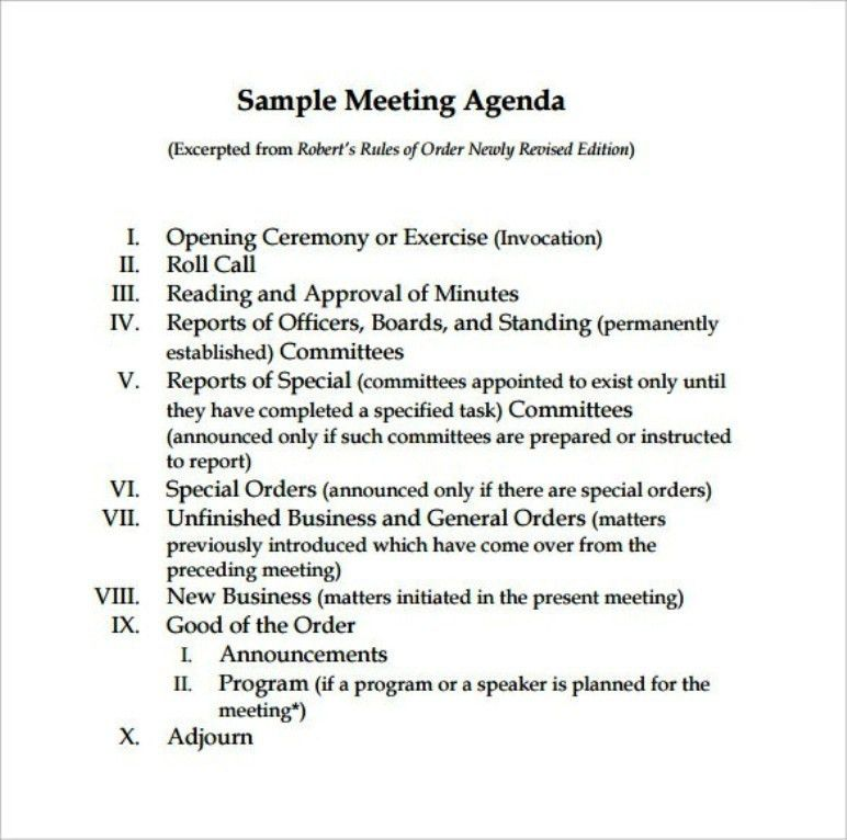 Standard Board Meeting Agenda Template | TemplateZet