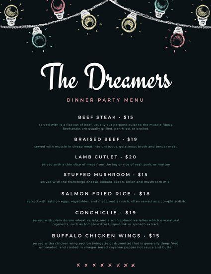 Dark Blue Vintage Chalk Dinner Party Menu - Templates by Canva