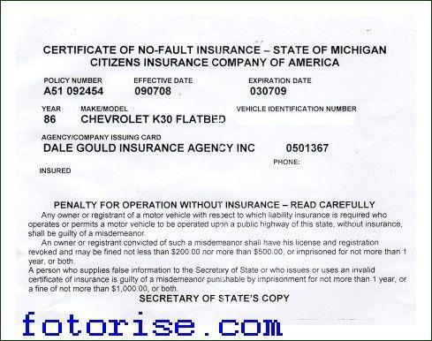 Fake Proof Of Insurance Templates - fotorise.com