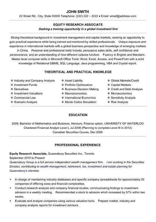Click Here to Download this Equity Research Associate Resume ...