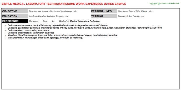 Medical Laboratory Technician Job Title Docs