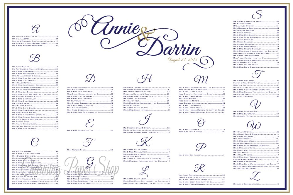 Wedding Seating Chart, Blue and Gold Wedding, Navy and Gold ...