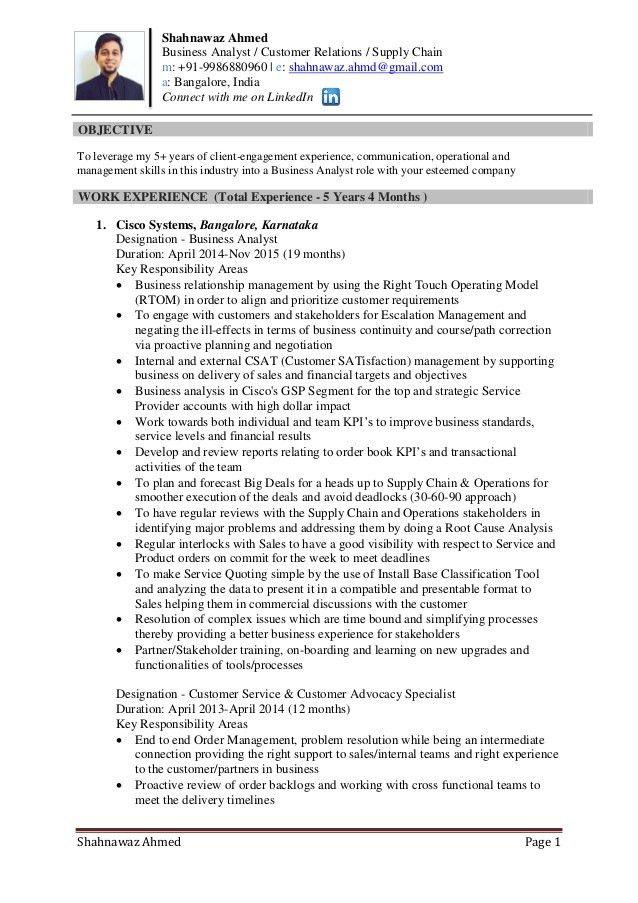 Resume of shahnawaz ahmed supply chain - customer service - mba