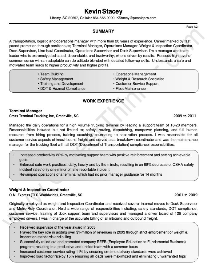 Sample Resume Terminal Manager | Create professional resumes ...