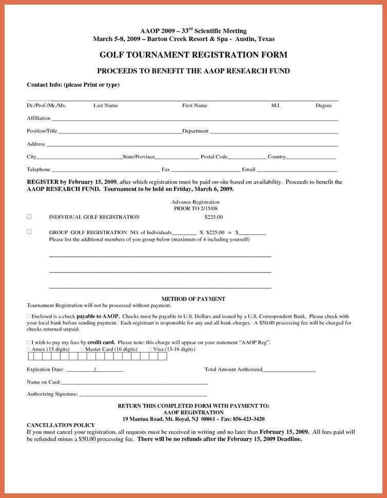 printable registration form template | bio example