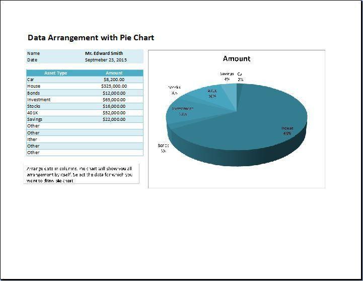 Pie Chart Data Arrangement Template | Word & Excel Templates