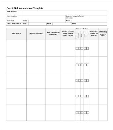 Risk Assessment Templates - 9+Word, PDF Documents Download | Free ...