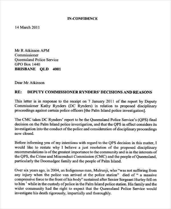 Format Of A Letter To Police - Compudocs.us