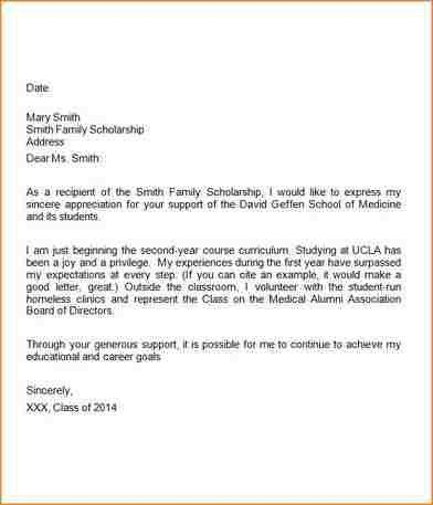 Scholarship Thank You Note. Medical School Scholarship Thank You ...