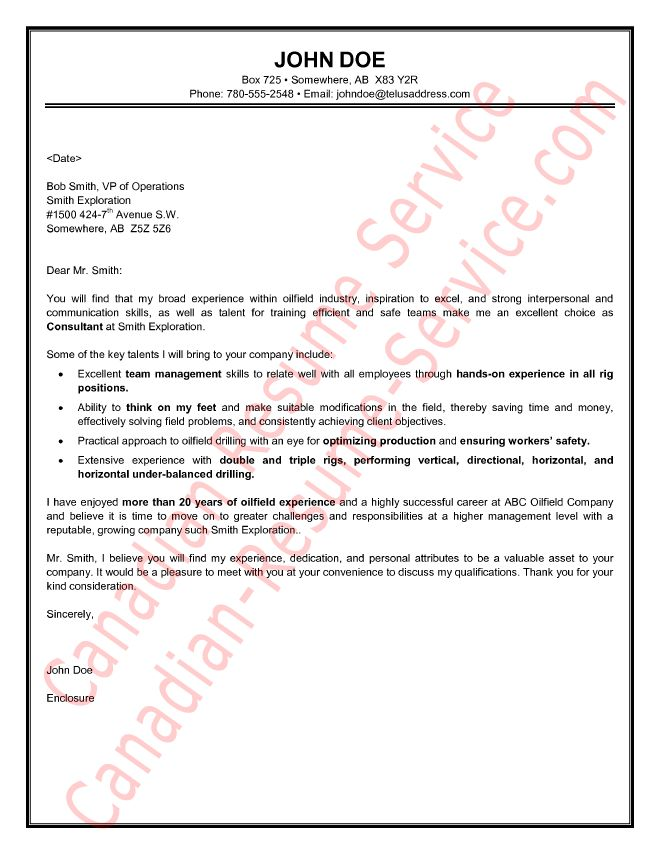 Oilfield Consultant Cover Letter Sample / Example