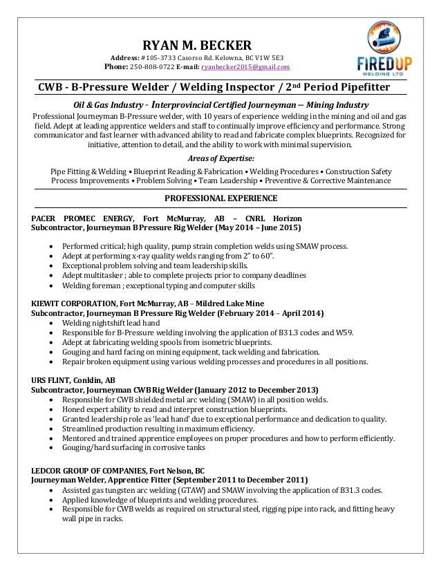 Ryan Becker - Welding Resume